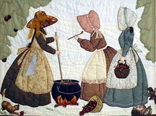 Bonnet girls making apple butter